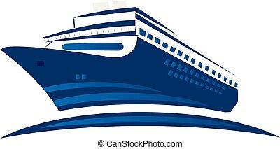 bleu, logo, symbole, bateau, croisière
