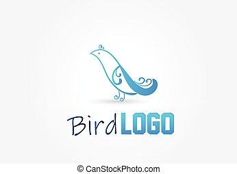 bleu, logo, vecteur, conception, oiseau