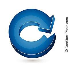 bleu, logo, vecteur, flèche, 3d