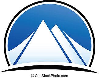 bleu, logo, vecteur, montagnes