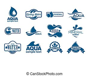 bleu, logos, minéral, icônes, collection., set., eau, ...