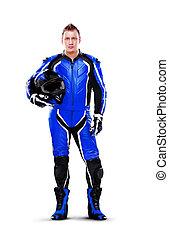 bleu, longueur pleine, sombre, équipement, motard, portrait