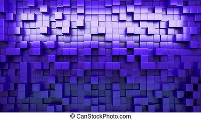 bleu, loop., extruded, résumé, rendering., arrière-plan., cubes., 3d