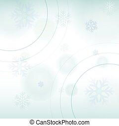 bleu, lumière hiver, résumé, fond, v, flocons neige