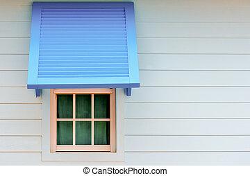 bleu, lumière naturelle, fenêtre, bois, paravane