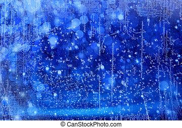 bleu, lumières,  art, noël, fond