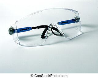bleu, lunettes protectrices, sécurité, fond
