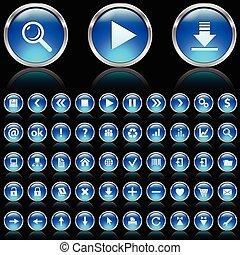 bleu, lustré, icônes