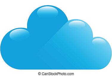 bleu, lustré, nuage