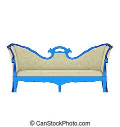 bleu, luxe, vendange, fauteuil