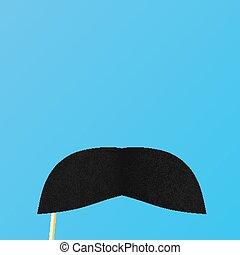 bleu, luxuriant, arrière-plan., papier, faux, moustache