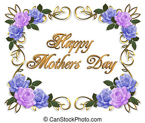 bleu, mères, lavande, roses, jour, carte