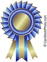 bleu, médaille, ruban, (vector), argenté