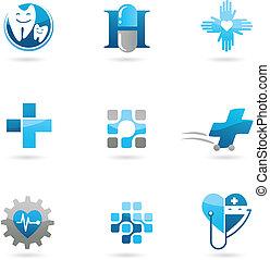 bleu, médecine, et, soin, icônes, et, logos