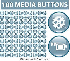 bleu, média, 100, boutons