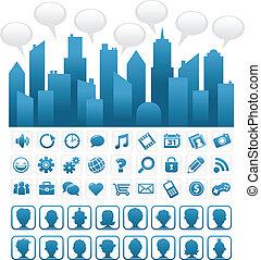 bleu, média, social, ville