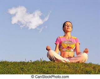 bleu, méditation, ciel, girl
