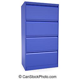 bleu, métal, cabinet