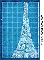 bleu, métal, eiffel, -, miniature, impression, tour