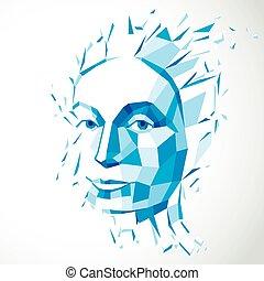 bleu, métaphore, tête, vecteur, séparément, intelligence, illustration, moderne, imagination., poly, figure, idées, exploser, portrait., bas, éclats, technologique, automne, personnalité, pensées, 3d