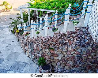 bleu, maçonnerie, chaîne, étapes, lumière, grille, extérieur, mur