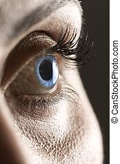 bleu, macro, oeil