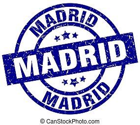bleu,  Madrid,  grunge, rond, timbre