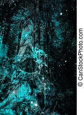 bleu, magie, forêt