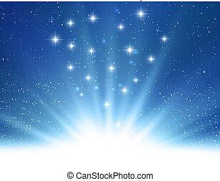 bleu, magie, lumière, résumé, vecteur, fond, brillant