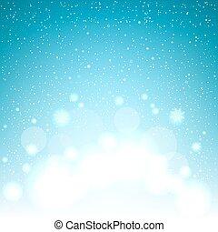 bleu, magie, noël, fond, neige