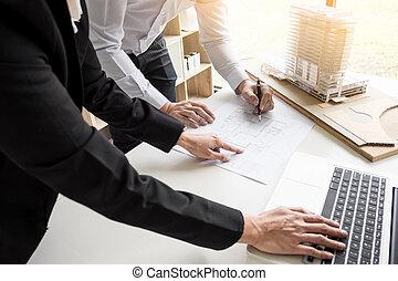 bleu, main, équipement, projet architecte, impression, dessin, personne, ingénieur