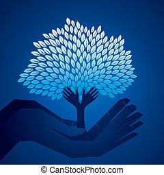 bleu, main, arbre