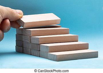 bleu, main bois, fond, arrangement, bloc