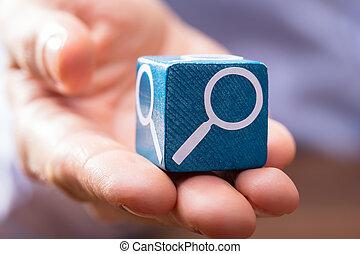 bleu, main bois, tenue, personne, bloc