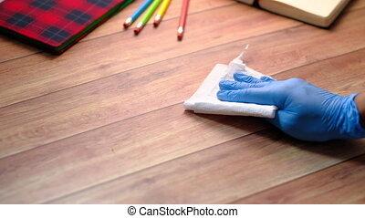 bleu, main, caoutchouc, nettoyage, gants, table, tissu