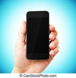 bleu, main, téléphone portable, fond, vide