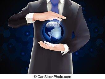 bleu, mains, tenue, la terre