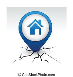 bleu, maison, crack., icône
