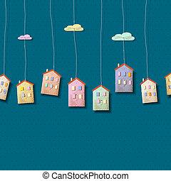 bleu, maisons, fait, papier