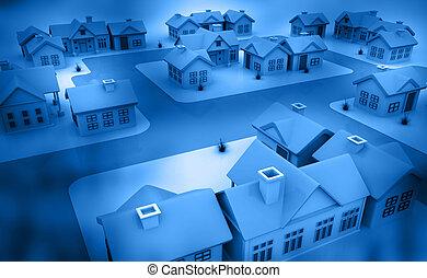 bleu, maisons, fond, 3d