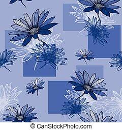 bleu, malade, seamless, camomile, vecteur, fond, hand-drawing.