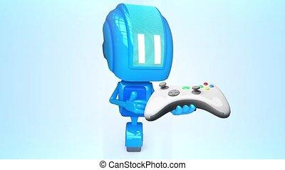 bleu, manche balai, robot