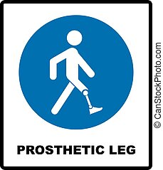 bleu, mandatory, jambe, signe., prothétique, illustration, isolé, vecteur, blanc, symbole