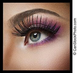 bleu, maquillage, beauté, eyes.