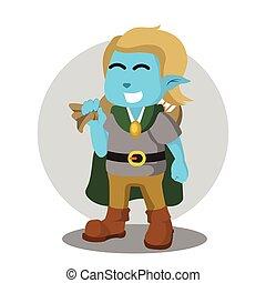 bleu, marchandises, elfe, tenue, sac