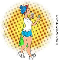 bleu, marche, femme, art, illustration., cheveux, écouteurs...