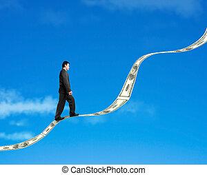 bleu, marche, tendance, argent, ciel, fond, croissant, homme affaires, nuage