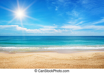 bleu, marine, ciel, fond, soleil
