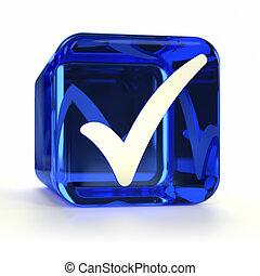 bleu, marque, chèque, icône