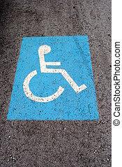 bleu, marquer, invalide, handicapé, stationnement, route